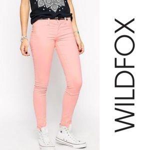NWT Wildfox Ultra-Soft Pink Skinny Jeans, Size 8